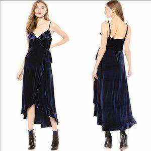 Avec Les Filles Navy Blue Velvet Ruffle Wrap Dress